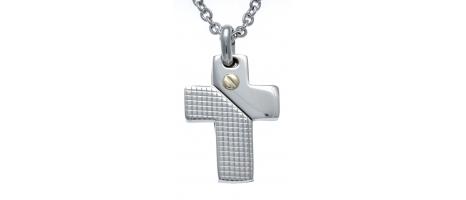 Collier acier - croix - vis...