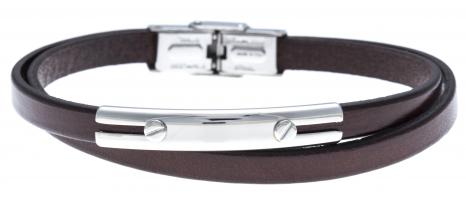 Bracelet acier - cuir...